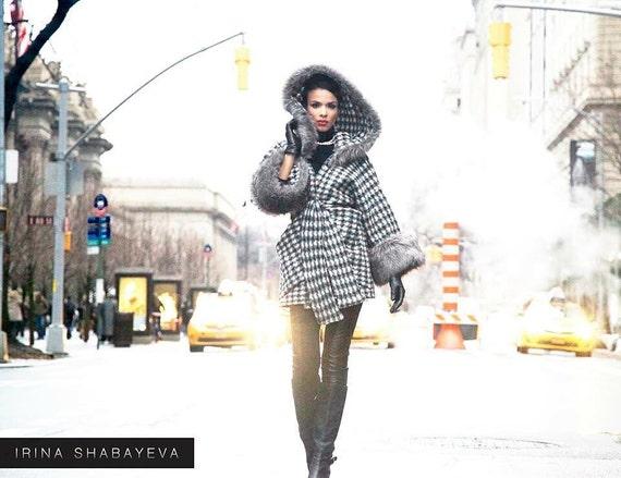 Irina Shabayeva Signature Oversize Coat! Lux cruelty free fur callar and sleeves!