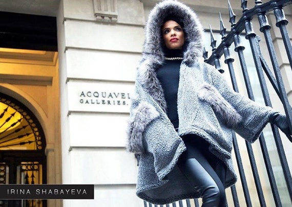 IrinaShabayeva #knits #irinashabayevaknits  are back!!!!!!#LuxebyIrina machine #knitted #sweater #coat with faux fur trim