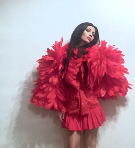 Irina Shabayeva Red Dahlia Lace/ Feather Jacket.