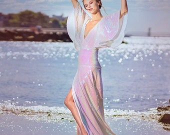 """Inspired by the """"Birth of Venus"""" Botticelli. Irina Shabayeva Couture Sequined Iridescent Gown."""