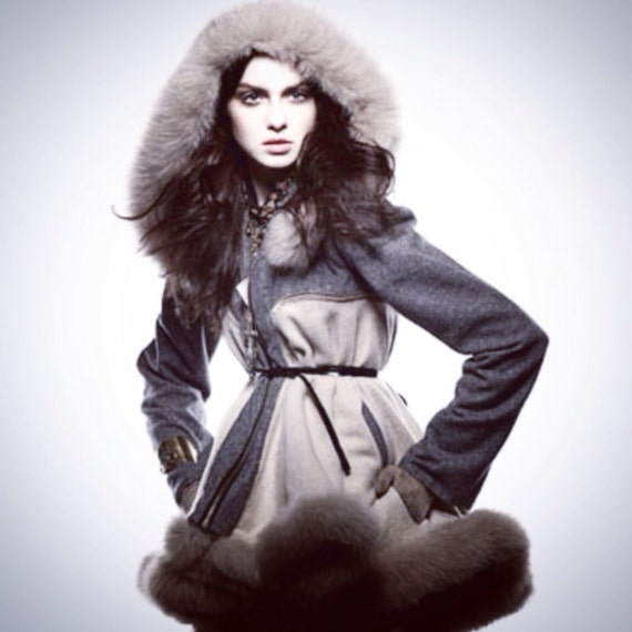 Irina Shabayeva Signature Hooded faux fur trimmed coat.