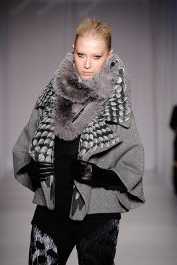 Irina Shabayeva Signature Oversize Cropped Grey Coat with silk screen and hand painted wings