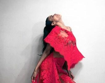 Irina Shabayeva red lace poncho.