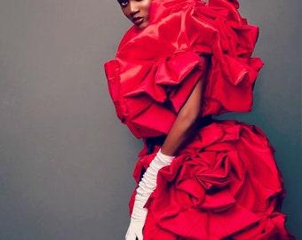 Irina Shabayeva Red Roses Taffeta Dress-coat.