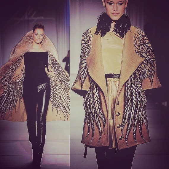 Irina Shabayeva Signature Oversize Camel Coat with silk screen and hand painted large feathers. Short version is 2,995 long version is 5,995