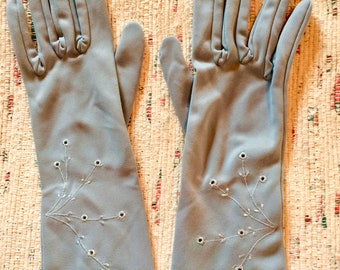 Formal Gloves, Vintage Gloves, 1960s, Long  Gloves, 60s Gloves, Blue, Size Small, Womens Gloves, Ladies Gloves, Driving Gloves