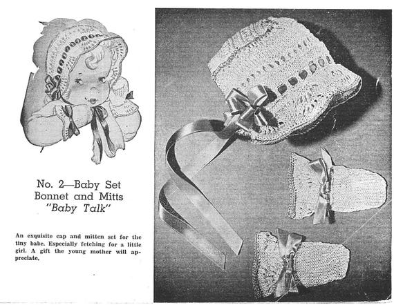 Vintage Knitting PATTERN to make Baby Bonnet Cap Hat Mitts Set BabyTalk