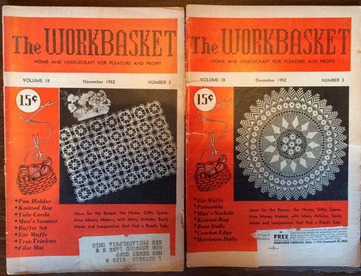 Workbasket Magazine 2 Issues 1952 & 5 Issues 1951 Home and ...