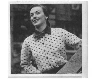Vintage Crochet Pattern to Make Stylish Cardigan ~ 1950's ~ Sizes 14-16~ a 1950's  PDF instant Download