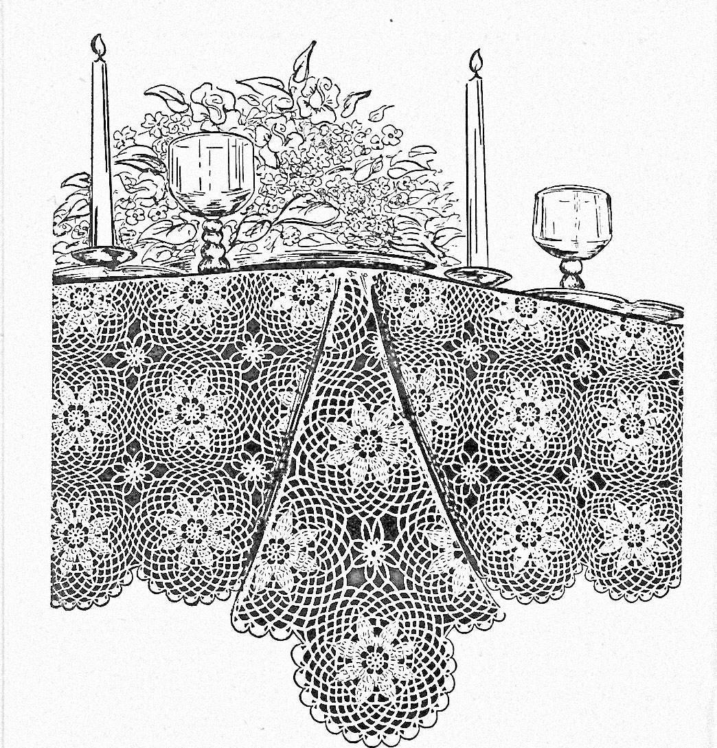 Vintage Crochet Pattern Lace Tablecloth Home Decor Crochet Etsy