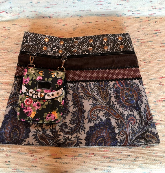 Reversible Button Wrap Skirt, Reversible Mini Skir