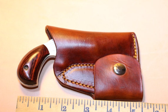 Leather tan Pocket holster with ammo pouch for NAA 22 LR 1 1//8 or 1 5//8
