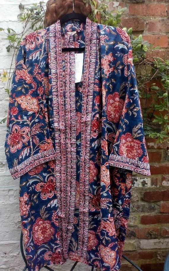 Anokhi Indian Hand Block Print Kimono Gown