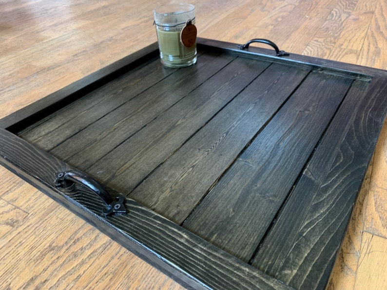 Merveilleux Ottoman Tray, Coffee Table Tray, Large Wooden Rustic Square Tray, Low  Profile Tray, Oversized Tray With Handles, Black Ottoman Tray