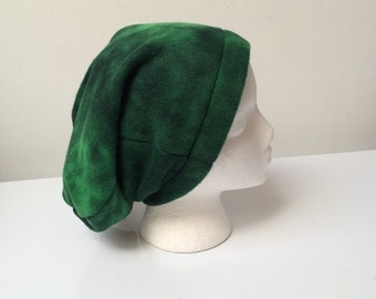 Fleece slouchy beanie, blended green winter beanie, winter hat, hipster slouchy