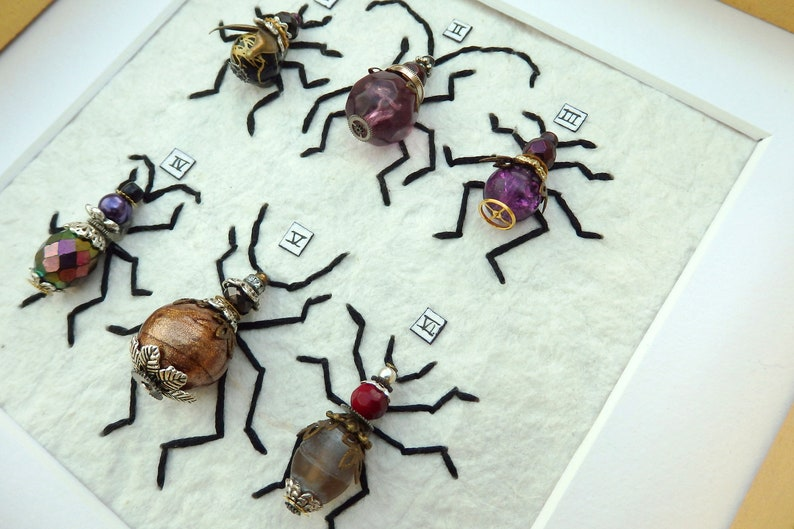 6 beetles Pick your colours hand stitched bugs /& bees framed ready for hanging. Unique custom made steampunk entomology art hand-made