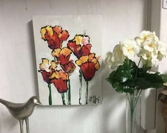 """acrylic """"pour"""" stylistic red and yellow tulips"""