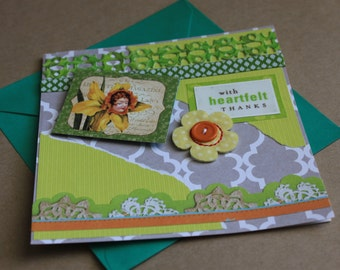 With Heartfelt Thanks, Spring, Green, Handmade, Thank You Card