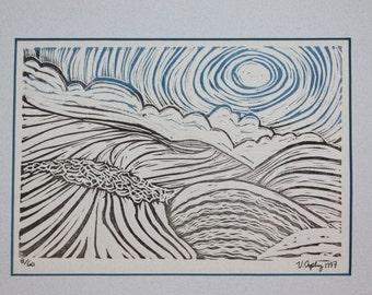 "Hills Of Home, Lino Block Print, Frame Ready 8""x10"""