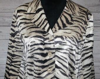 VINTAGE! Women's Da-Rue Draper's & Damon's Zebra Animal Print Jacket Size 12P