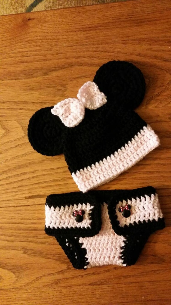 Minnie Mouse Crochet Hat And Diaper Cover Set Etsy