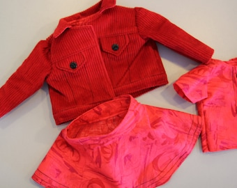 Western Red Corduroy Jean Jacket with red shirt and flared skirt.