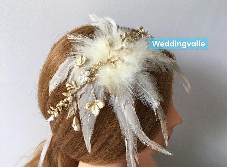 rhinestone crystals headpiece hair comb nature garden headpiece bridal headpiece Romantic gold feathers tiara wedding bridal headband