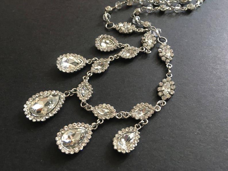 bridal necklace SALE Love teardrops wedding bridal rhinestones crystals chandelier teardrop jewelry set engaged rhinestones necklace