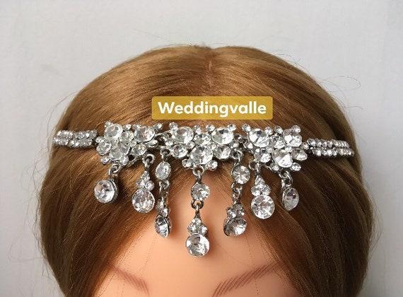 SALE rhinestone drape crystals headpiece rhinestone headband Chandelier wedding hair chain rhinestones headpiece bridal hair tiara