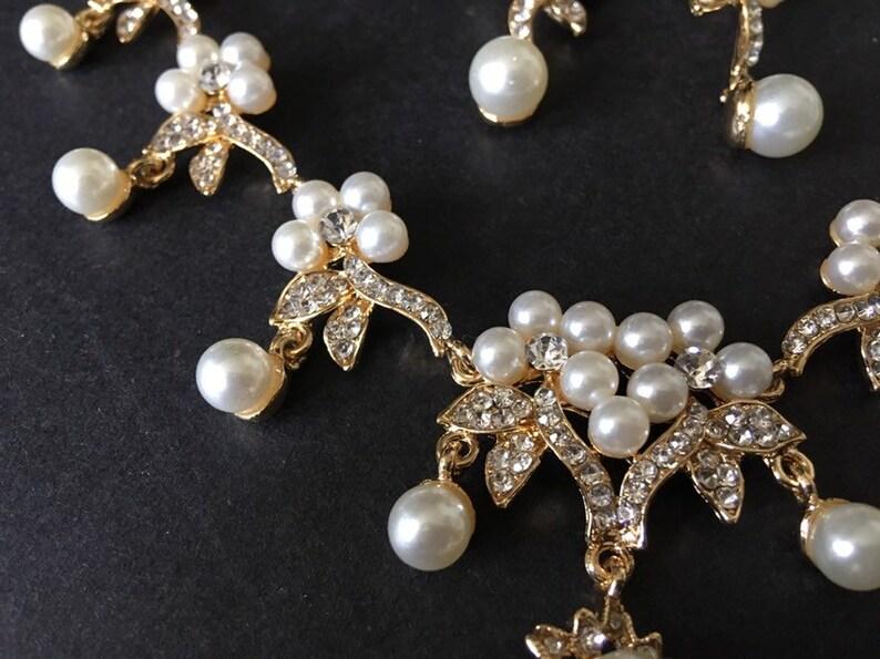 wedding necklace statement necklace rhinestones crystals necklace bridal necklace Romantic gold necklace pearls necklace wedding set