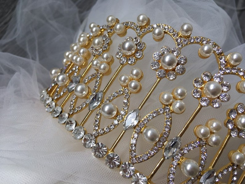 wedding headpiece Gold pearls headpiece prom wedding tiara wedding crown princess tiara gold crown bridal crown full bridal crown