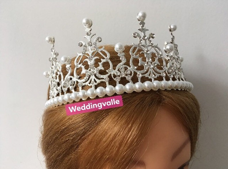 bridal headpiece hair tiara party headpiece vintage Victorian crown pearls crown hair accessory Wedding crown rhinestones headpiece