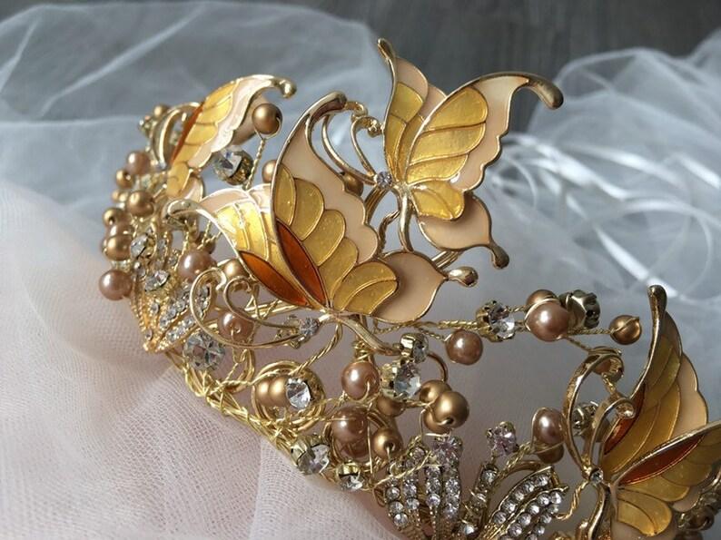 bridal hair fairy headpiece wedding crown brides headpiece bridal tiara hair accessory fairy crown Gold butterflies crown