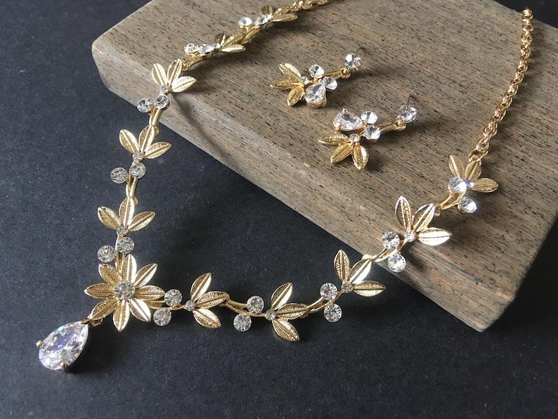 Gold necklace jewelry set sunflower wedding necklace bridal necklace bridal rhinestones crystals necklace statement wedding jewelry