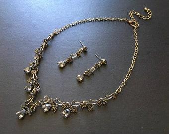 Gothic jewelry, bridal necklace, rhinestone necklace, bridal jewelry, wedding necklace, crystal necklace, statement necklace, costume jewel