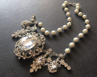 Victorian necklace, rhinestone crystal necklace, wedding necklace, wedding jewelry,  statement necklace, bridal necklace, swarovski necklace