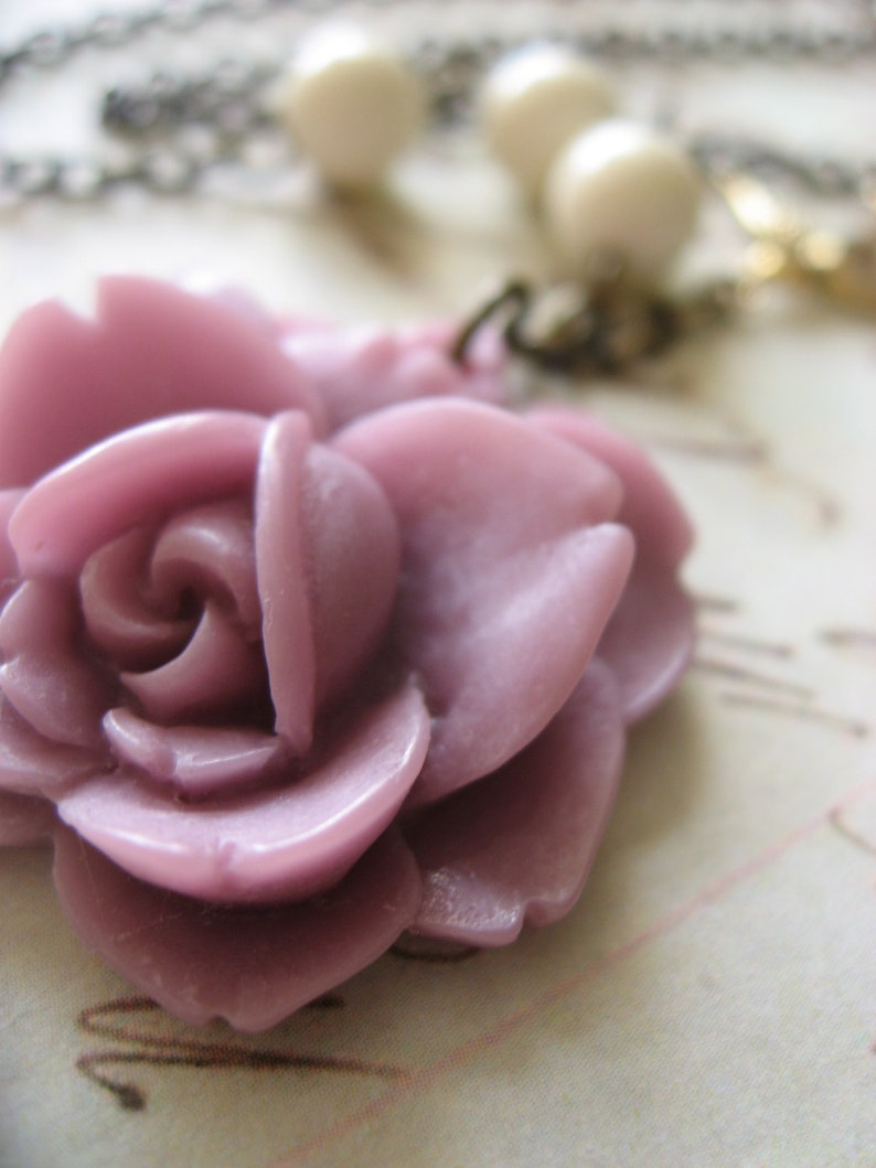 antiqued necklace Romantic necklace SALE rose necklace jewelry for her gift flower  necklace brass necklace