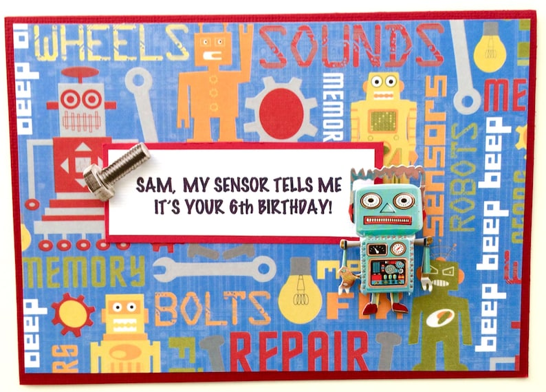 Robot Birthday Card Grandson Son Nephew Godson Boy With Name