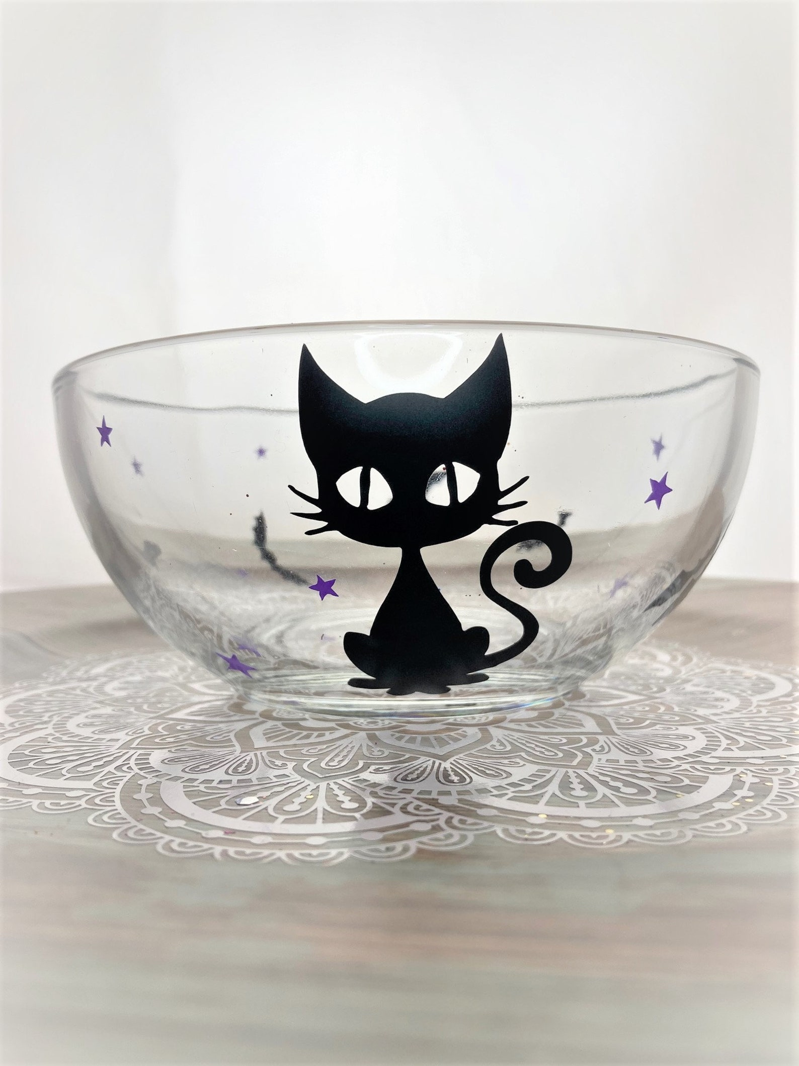 Halloween Cat Glass Bowl