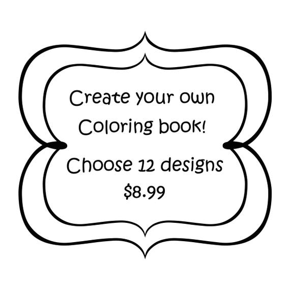 Create Your Own Grayscale Coloring Book 12 Designs Etsy