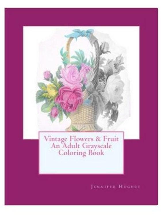 Descarga digital Libro flores vintage en escala de grises y | Etsy