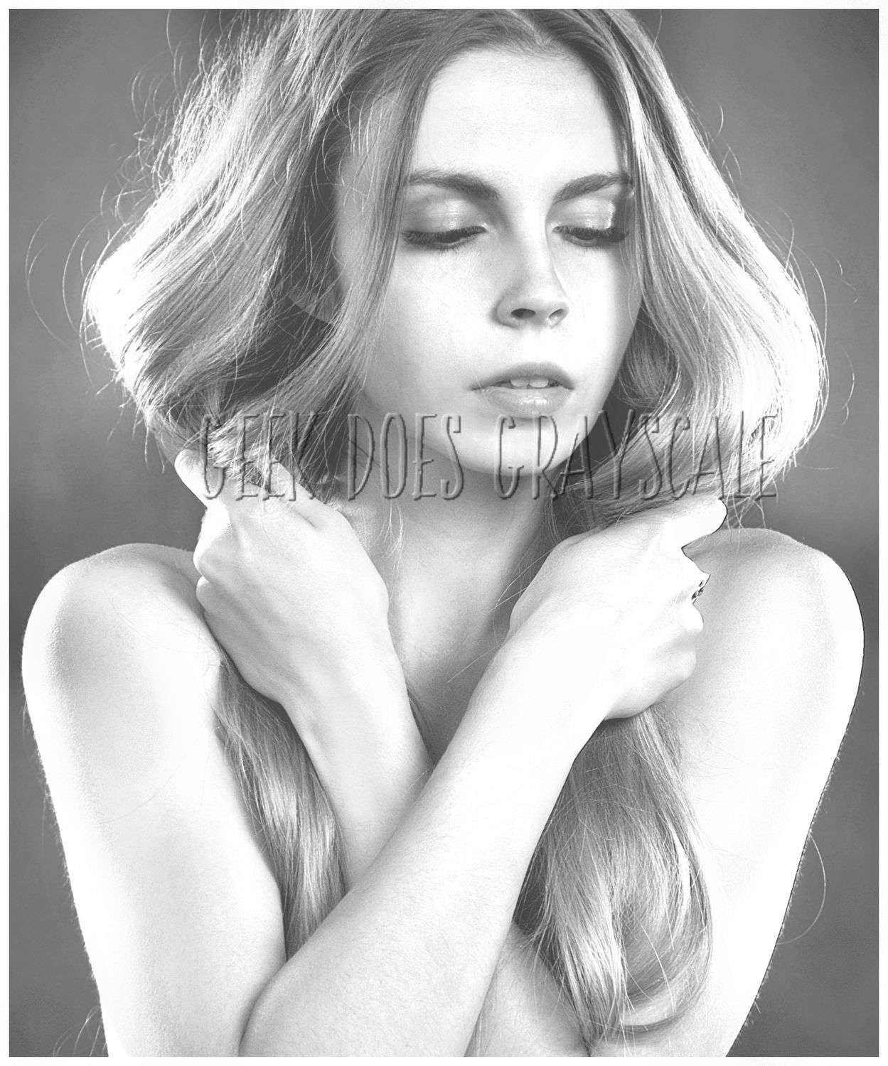 Grayscale Woman With Long Hair Grayscale Coloring Page Etsy