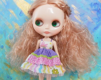 Blythe / Pullip - Empire Cupcake Dress - Lavender, Cream, & Pink