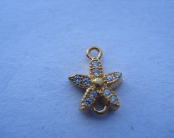 Pair of Starfish Copper Connectors, 14K Gold Plated Starfish with Clear Cubic Zirconia, 2-for1 Connectors!! C16