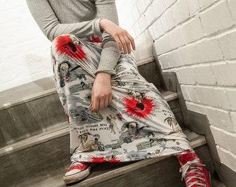 Patterned Column Skirt UK8-10 Red White Black