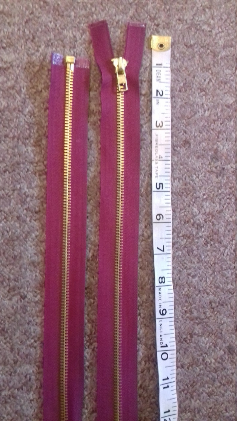 Raspberry red chunky new brass metal zip 24 inch 71cm open ended