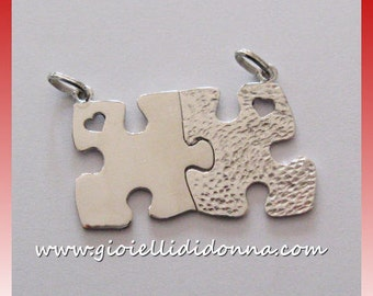 Silver Pendant Necklace puzzle he / she tooled silver 925 gift boyfriends / friends