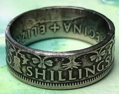 UK Coin Ring featuring thistles, shamrocks and leeks - 2 Shillings vintage - US Size 6 to 13