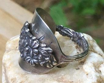 twisted handle whole demitasse spoon ring Spoon Ring Sterling Silver Flowers Vintage silverware