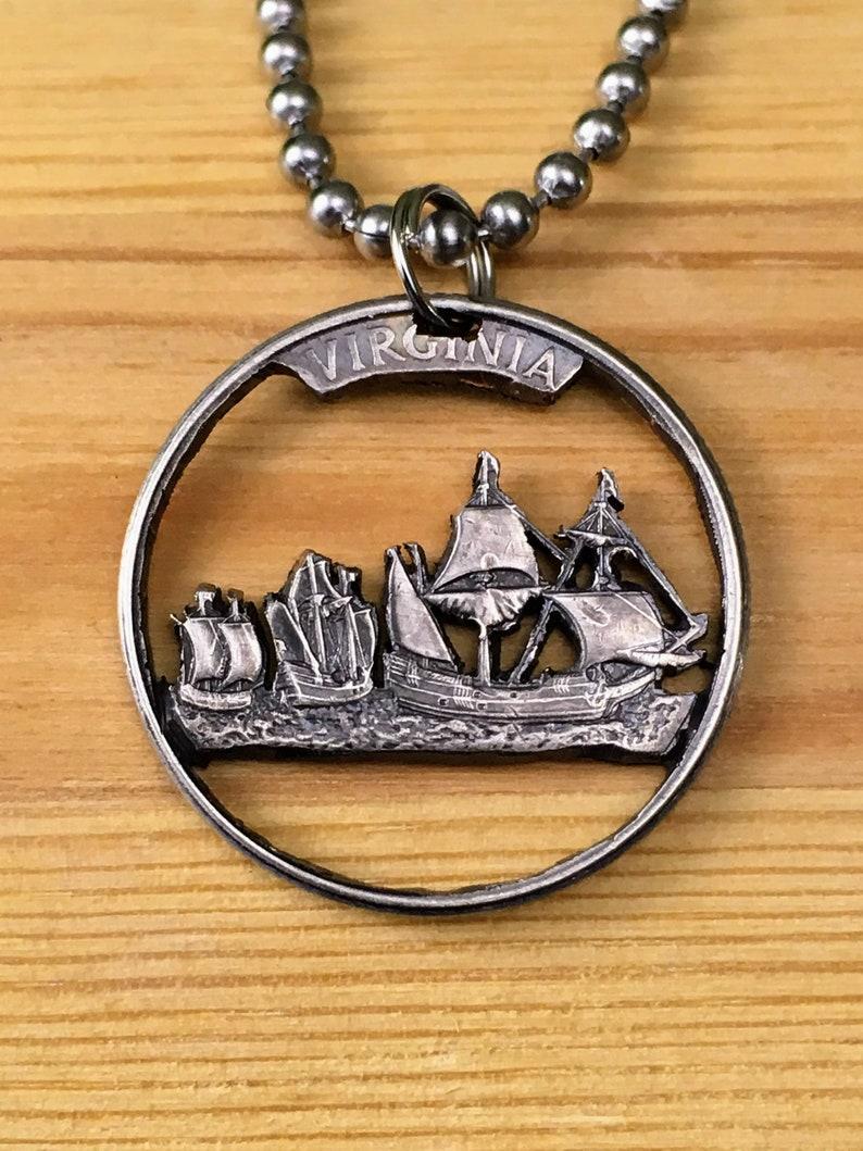 Silver Virginia Quarter necklace Jamestown ships VA Coin Pendant